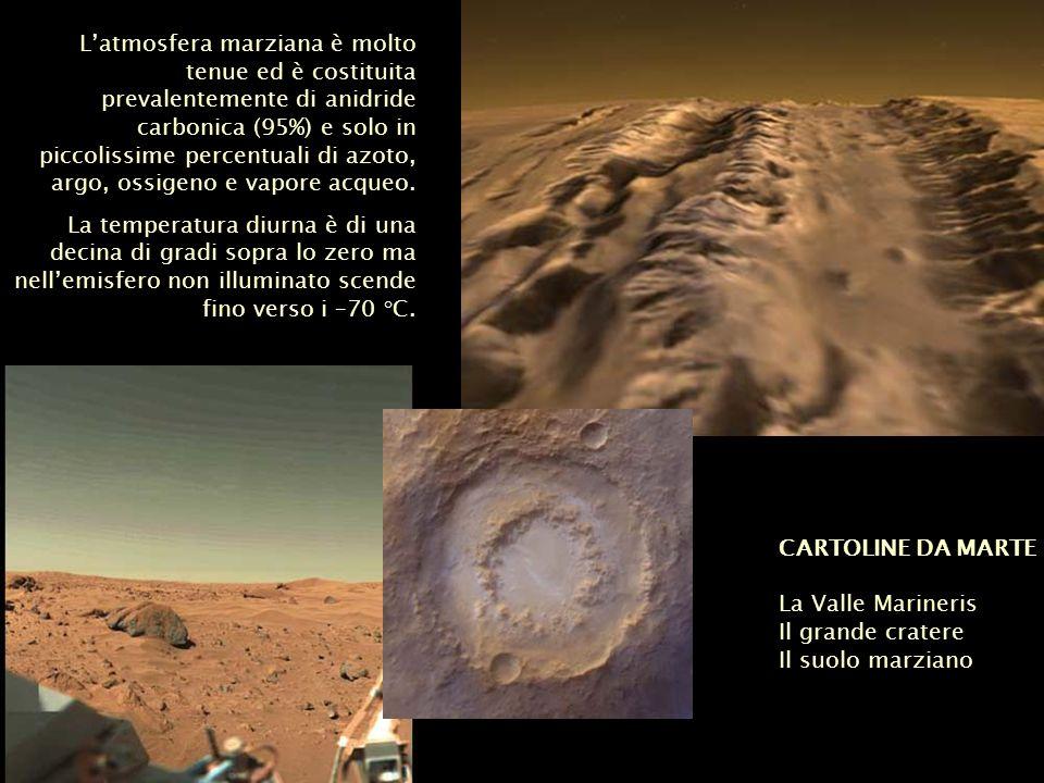CARTOLINE DA MARTE La Valle Marineris Il grande cratere Il suolo marziano Latmosfera marziana è molto tenue ed è costituita prevalentemente di anidrid