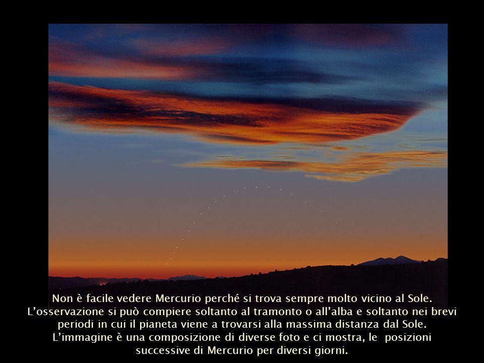 Non è facile vedere Mercurio perché si trova sempre molto vicino al Sole. Losservazione si può compiere soltanto al tramonto o allalba e soltanto nei