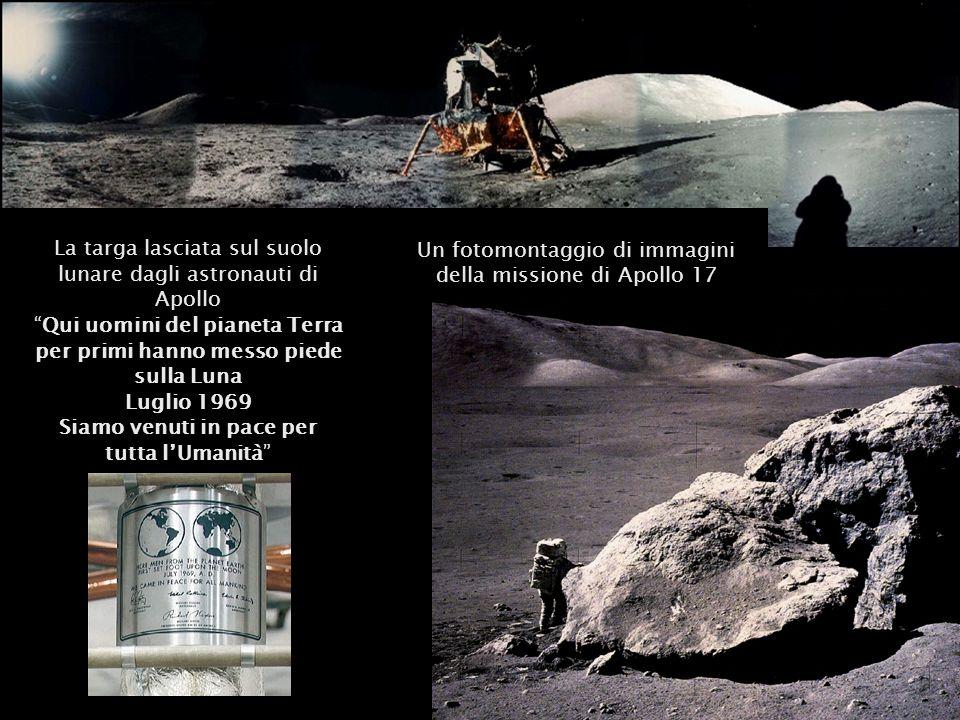 Un fotomontaggio di immagini della missione di Apollo 17 La targa lasciata sul suolo lunare dagli astronauti di Apollo Qui uomini del pianeta Terra pe