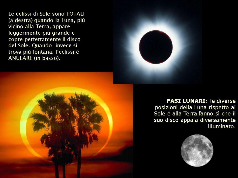 Le eclissi di Sole sono TOTALI (a destra) quando la Luna, più vicino alla Terra, appare leggermente più grande e copre perfettamente il disco del Sole
