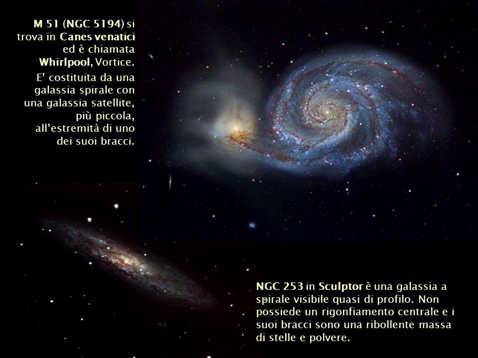 M 51 (NGC 5194) si trova in Canes venatici ed è chiamata Whirlpool, Vortice. E costituita da una galassia spirale con una galassia satellite, più picc