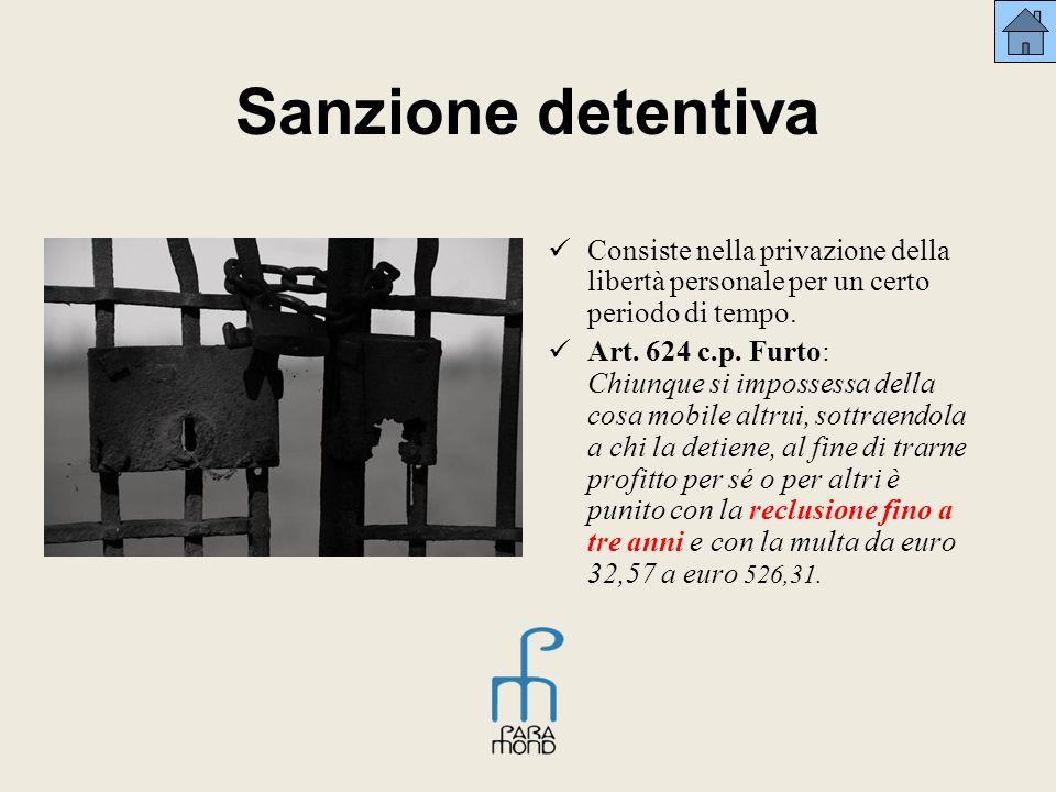 Sanzione detentiva Consiste nella privazione della libertà personale per un certo periodo di tempo. Art. 624 c.p. Furto: Chiunque si impossessa della