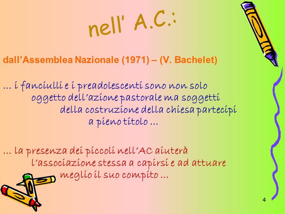 4 nell A.C.: dallAssemblea Nazionale (1971) – (V. Bachelet) … i fanciulli e i preadolescenti sono non solo oggetto dellazione pastorale ma soggetti de
