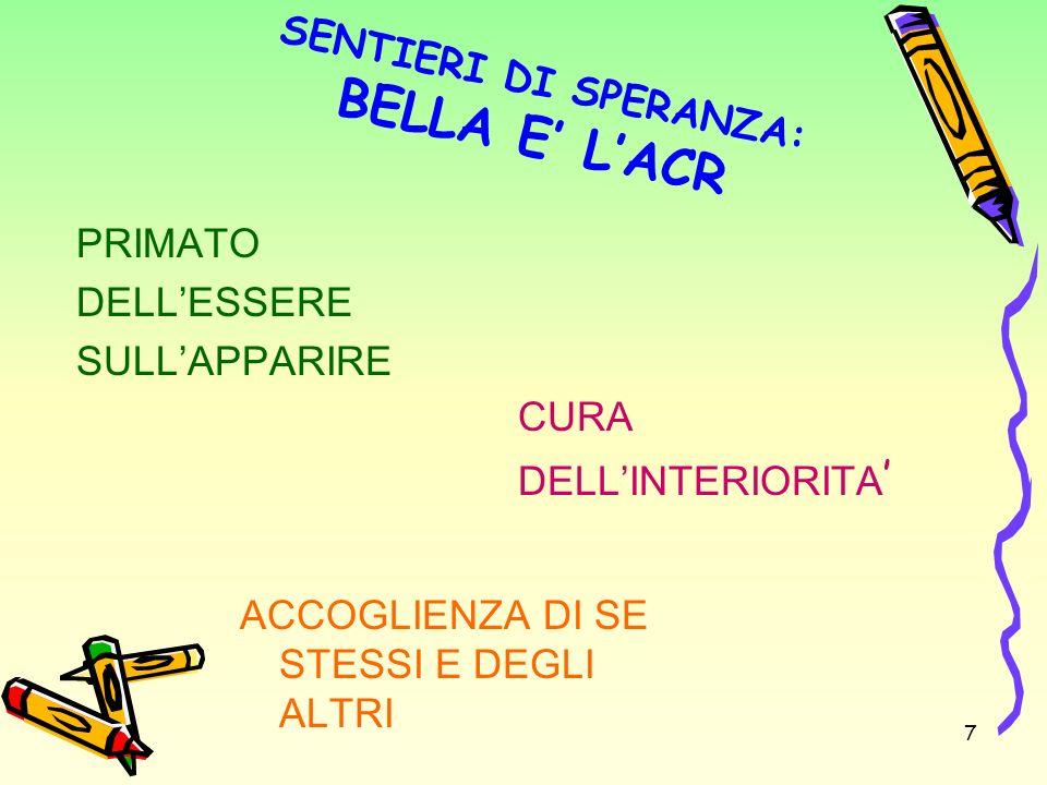 SENTIERI DI SPERANZA: BELLA E LACR PRIMATO DELLESSERE SULLAPPARIRE CURA DELLINTERIORITA ACCOGLIENZA DI SE STESSI E DEGLI ALTRI 7