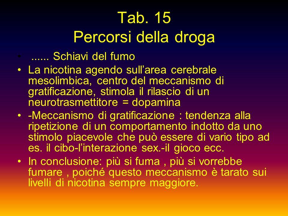 Tab. 14 Percorsi della droga La dipendenza : 1) Additività: sintomo di dip. fisiologica – modificazioni fisiche oggettive che seguono la sospensione d