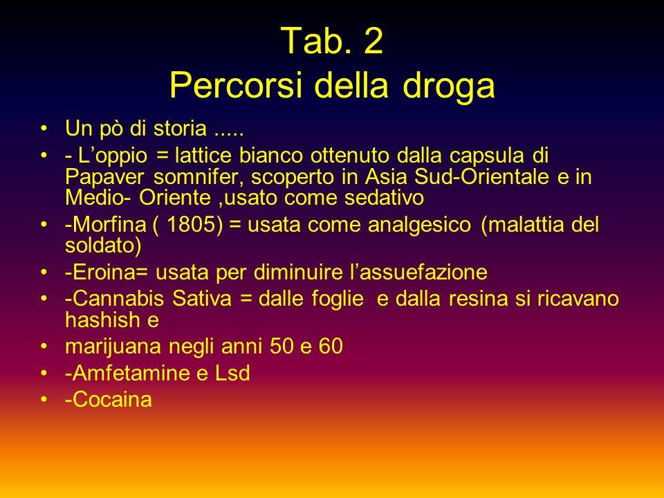 Tab 1 Percorsi della droga Luomo tenta di fuggire allisolamento rifugiandosi nellalcol e nelle droghe ma si sente ancora più solo quando è finito lo s
