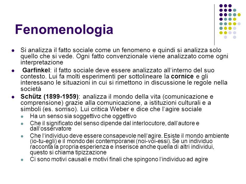 Fenomenologia Si analizza il fatto sociale come un fenomeno e quindi si analizza solo quello che si vede. Ogni fatto convenzionale viene analizzato co
