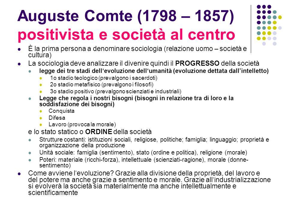 Auguste Comte (1798 – 1857) positivista e società al centro È la prima persona a denominare sociologia (relazione uomo – società e cultura) La sociolo