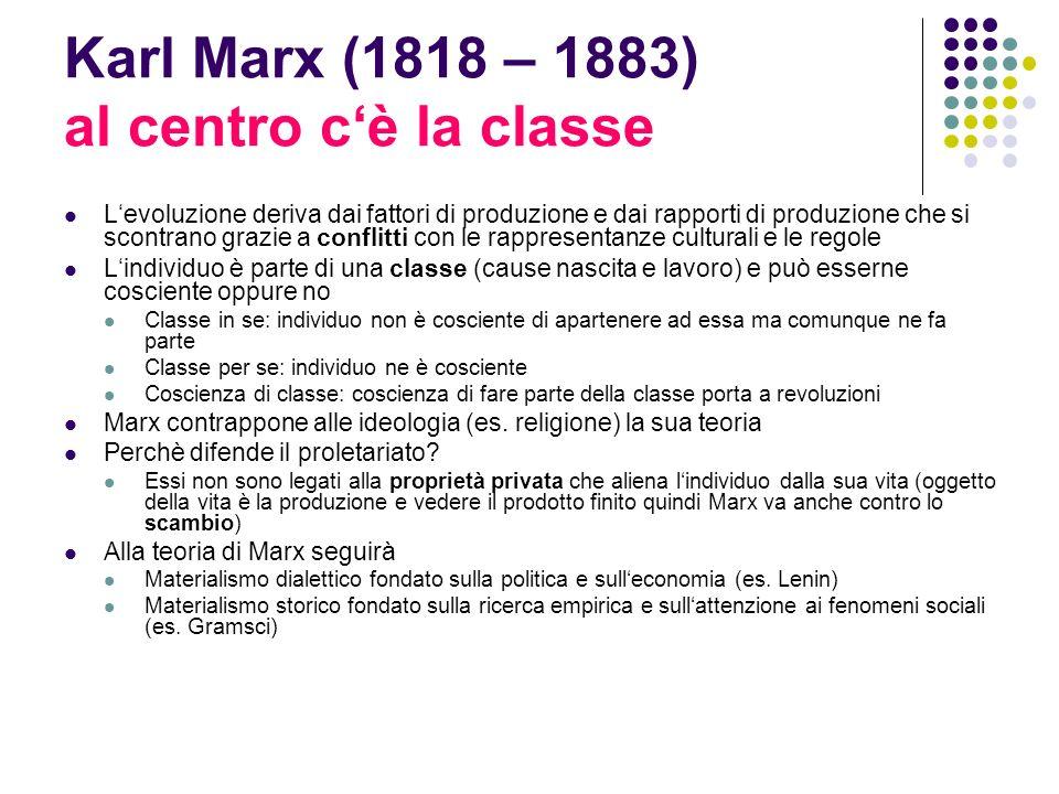 Karl Marx (1818 – 1883) al centro cè la classe Levoluzione deriva dai fattori di produzione e dai rapporti di produzione che si scontrano grazie a con