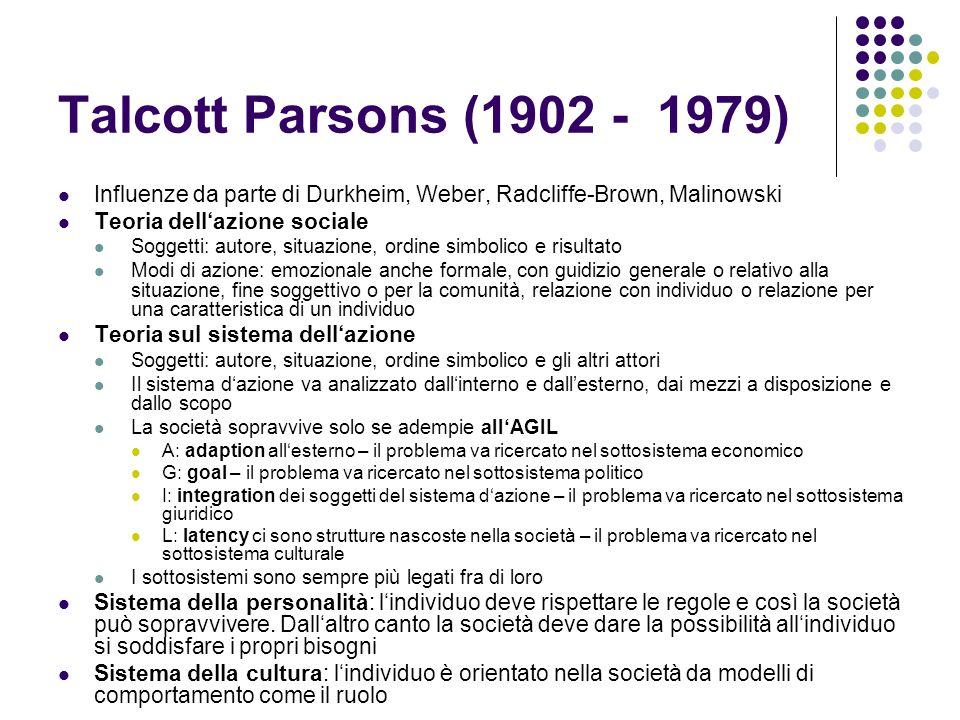 Talcott Parsons (1902 - 1979) Influenze da parte di Durkheim, Weber, Radcliffe-Brown, Malinowski Teoria dellazione sociale Soggetti: autore, situazion