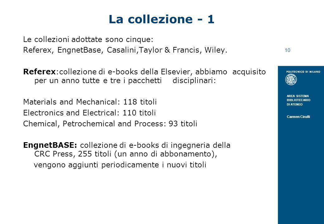 AREA SISTEMA BIBLIOTECARIO DI ATENEO Carmen Cirulli 10 La collezione - 1 Le collezioni adottate sono cinque: Referex, EngnetBase, Casalini,Taylor & Fr