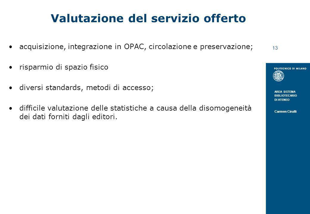 AREA SISTEMA BIBLIOTECARIO DI ATENEO Carmen Cirulli 13 Valutazione del servizio offerto acquisizione, integrazione in OPAC, circolazione e preservazio