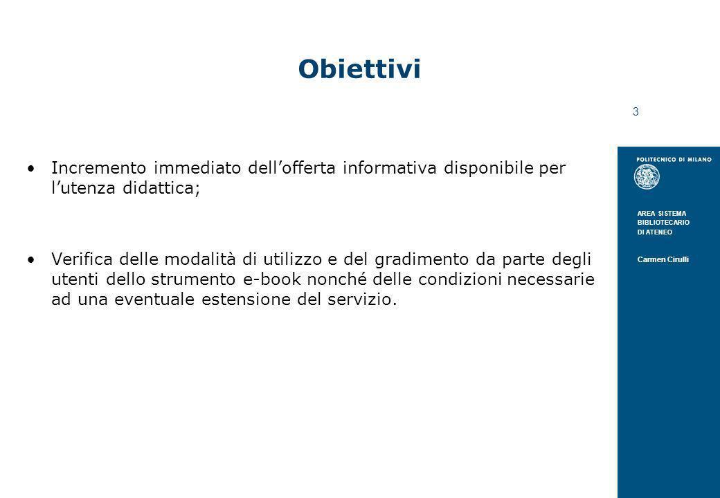 AREA SISTEMA BIBLIOTECARIO DI ATENEO Carmen Cirulli 3 Obiettivi Incremento immediato dellofferta informativa disponibile per lutenza didattica; Verifi