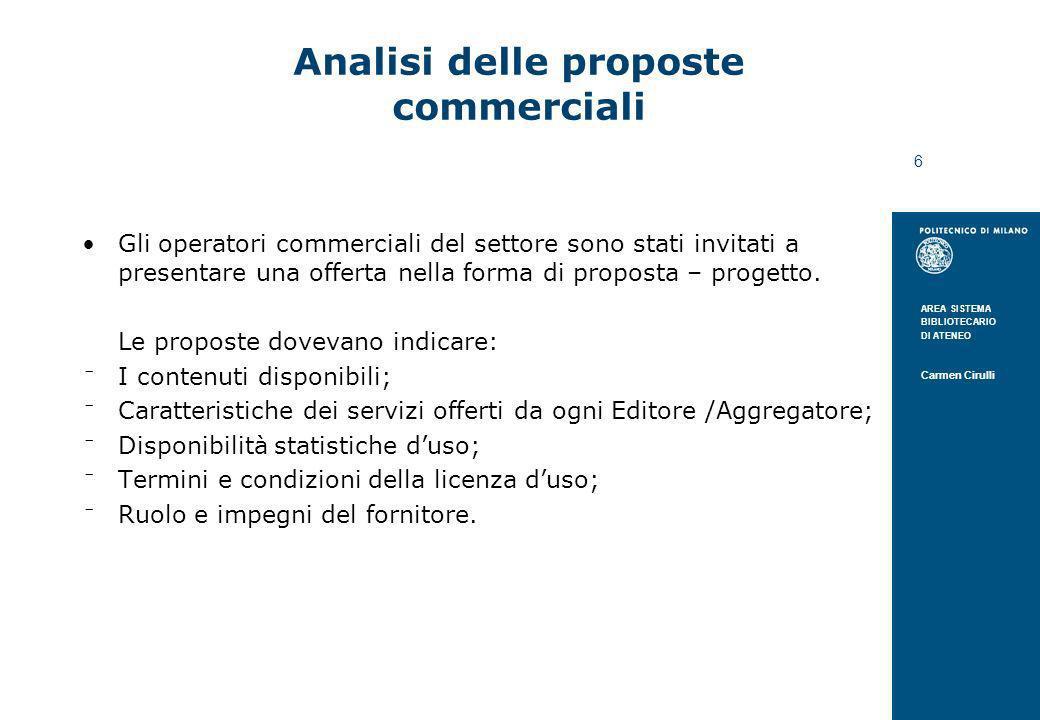 AREA SISTEMA BIBLIOTECARIO DI ATENEO Carmen Cirulli 6 Analisi delle proposte commerciali Gli operatori commerciali del settore sono stati invitati a p