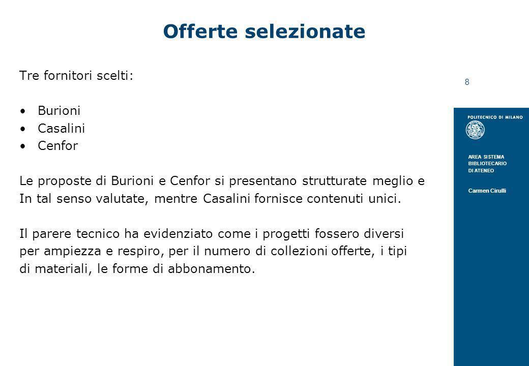 AREA SISTEMA BIBLIOTECARIO DI ATENEO Carmen Cirulli 8 Offerte selezionate Tre fornitori scelti: Burioni Casalini Cenfor Le proposte di Burioni e Cenfo