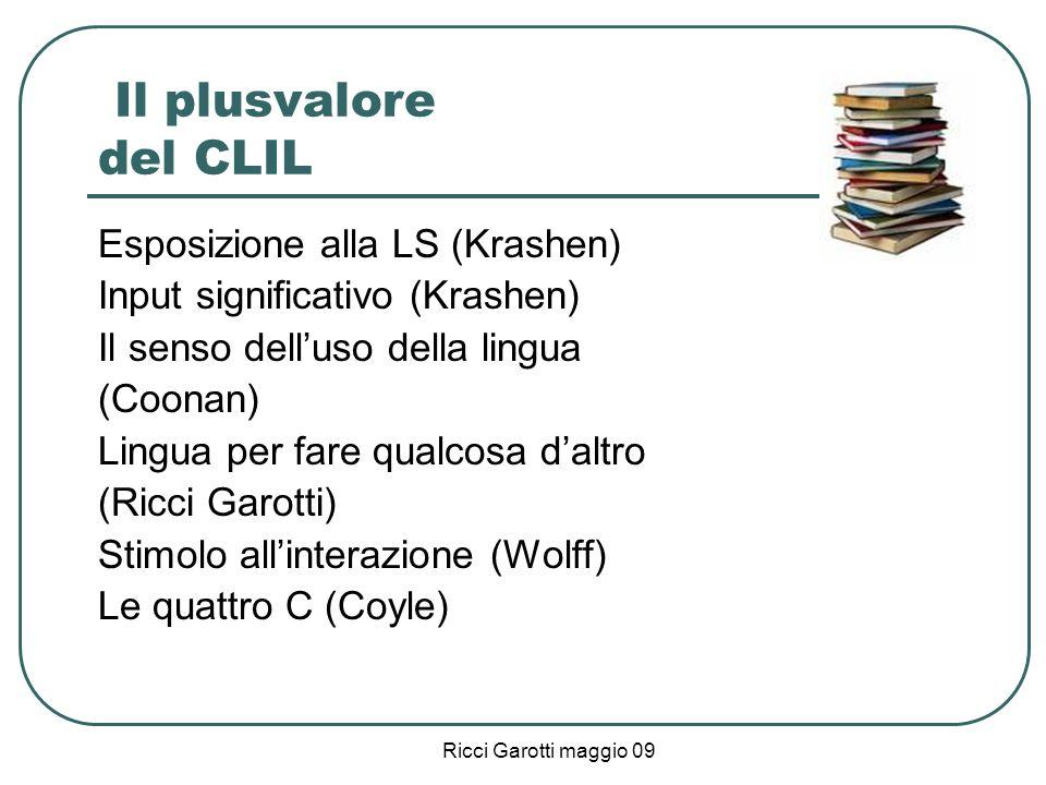Ricci Garotti maggio 09 Il plusvalore del CLIL Esposizione alla LS (Krashen) Input significativo (Krashen) Il senso delluso della lingua (Coonan) Ling