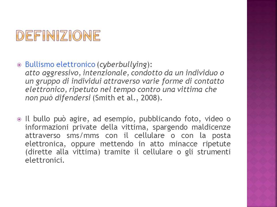 Bullismo elettronico (cyberbullying): atto aggressivo, intenzionale, condotto da un individuo o un gruppo di individui attraverso varie forme di conta