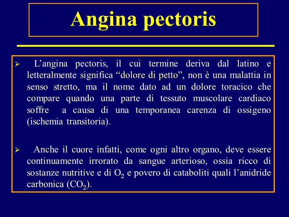 Angina pectoris dolore di petto Langina pectoris, il cui termine deriva dal latino e letteralmente significa dolore di petto, non è una malattia in se