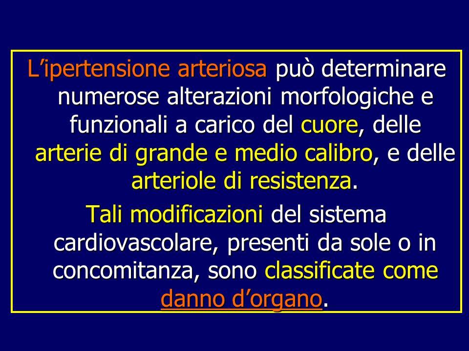Lipertensione arteriosa può determinare numerose alterazioni morfologiche e funzionali a carico del cuore, delle arterie di grande e medio calibro, e