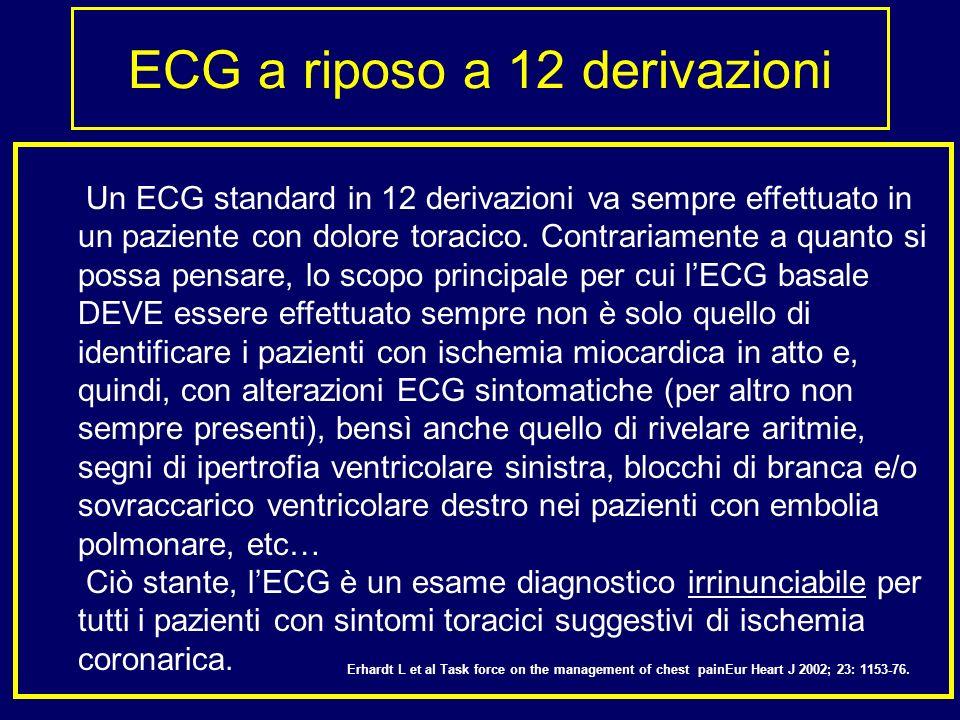 Un ECG standard in 12 derivazioni va sempre effettuato in un paziente con dolore toracico. Contrariamente a quanto si possa pensare, lo scopo principa