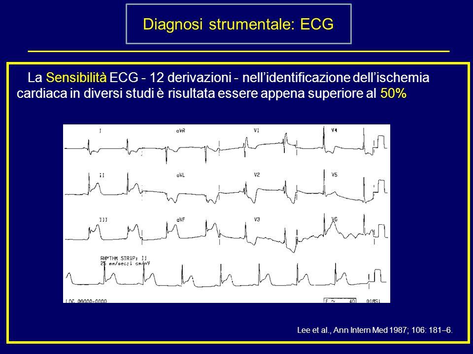 Diagnosi strumentale: ECG La Sensibilità ECG - 12 derivazioni - nellidentificazione dellischemia cardiaca in diversi studi è risultata essere appena s