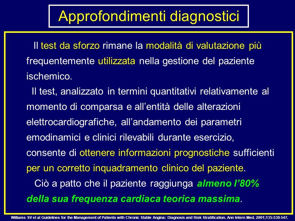 Il test da sforzo rimane la modalità di valutazione più frequentemente utilizzata nella gestione del paziente ischemico. Il test, analizzato in termin