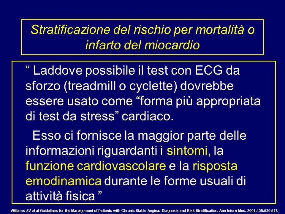 Stratificazione del rischio per mortalità o infarto del miocardio Laddove possibile il test con ECG da sforzo (treadmill o cyclette) dovrebbe essere u
