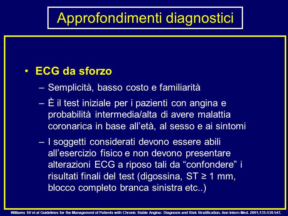 ECG da sforzo –Semplicità, basso costo e familiarità –È il test iniziale per i pazienti con angina e probabilità intermedia/alta di avere malattia cor
