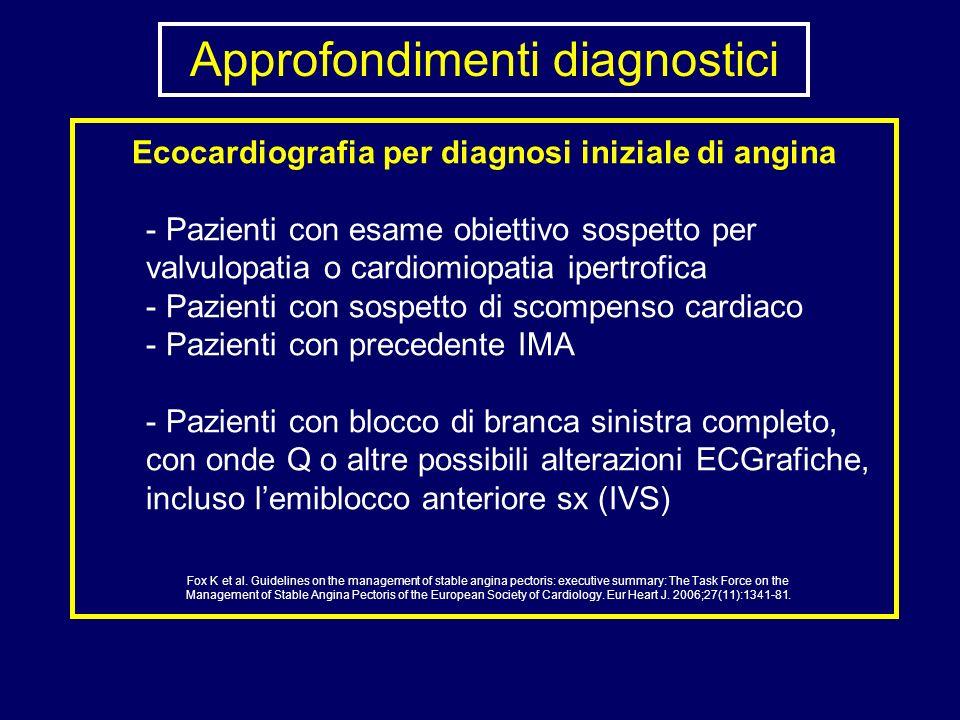 Approfondimenti diagnostici Ecocardiografia per diagnosi iniziale di angina - Pazienti con esame obiettivo sospetto per valvulopatia o cardiomiopatia