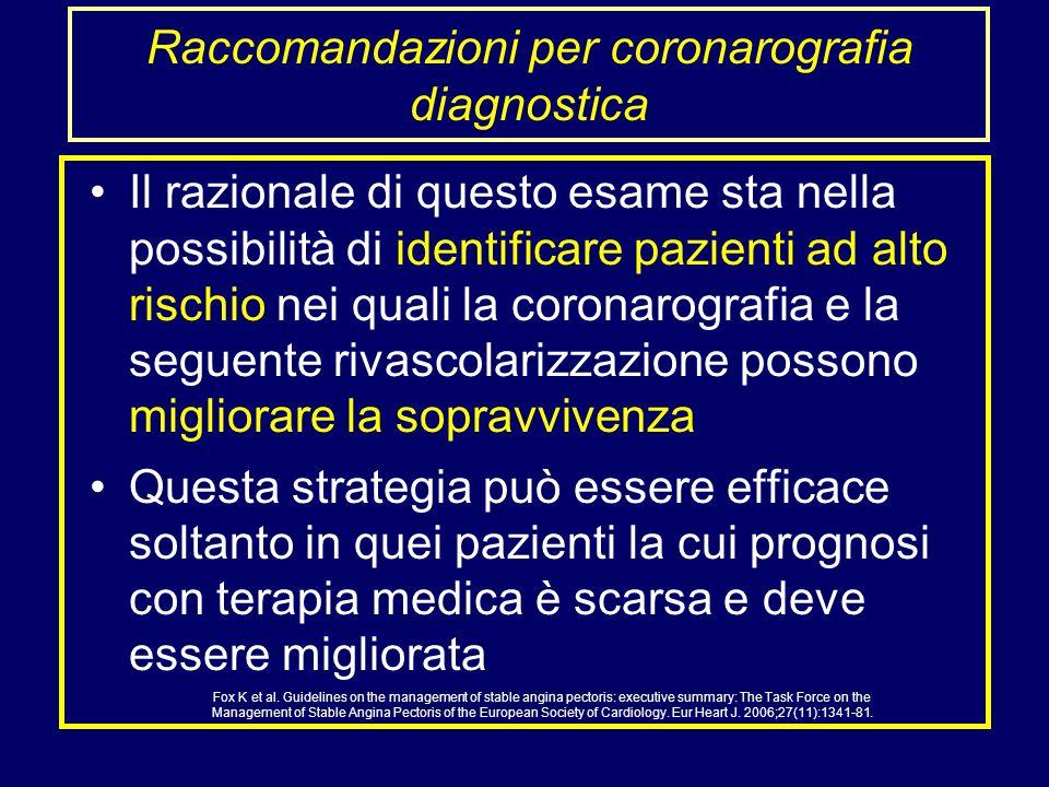 Il razionale di questo esame sta nella possibilità di identificare pazienti ad alto rischio nei quali la coronarografia e la seguente rivascolarizzazi