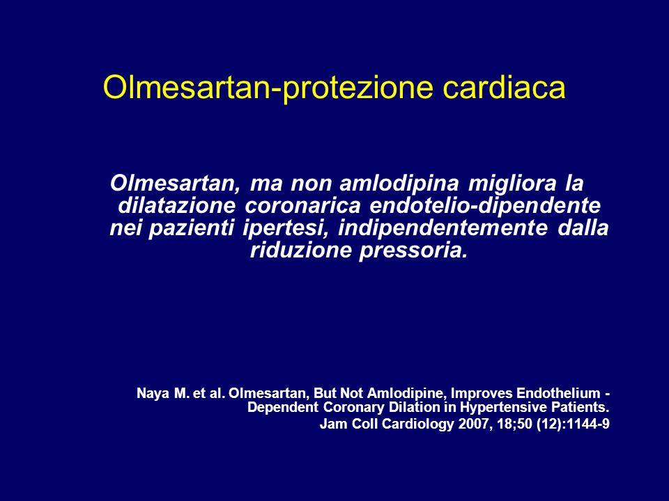 Olmesartan-protezione cardiaca Olmesartan, ma non amlodipina migliora la dilatazione coronarica endotelio-dipendente nei pazienti ipertesi, indipenden