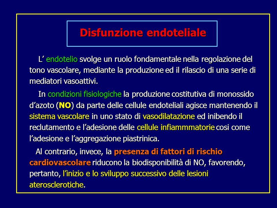 Disfunzione endoteliale L endotelio svolge un ruolo fondamentale nella regolazione del tono vascolare, mediante la produzione ed il rilascio di una se