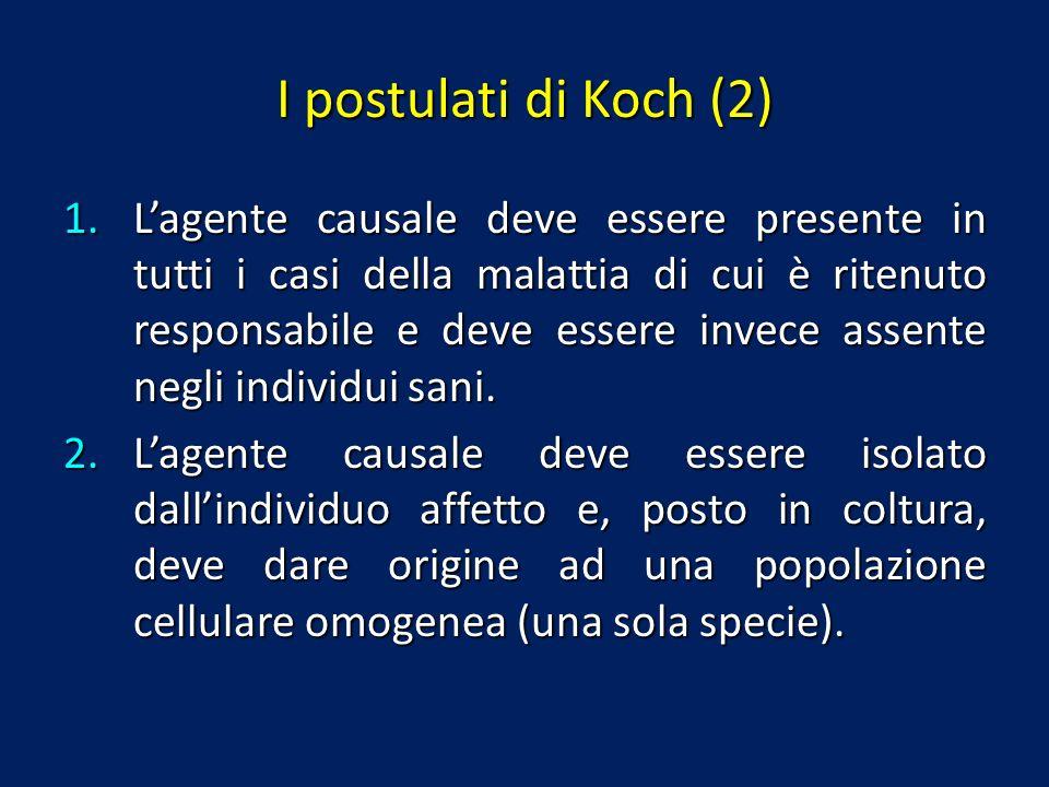 I postulati di Koch (2) 1.Lagente causale deve essere presente in tutti i casi della malattia di cui è ritenuto responsabile e deve essere invece asse
