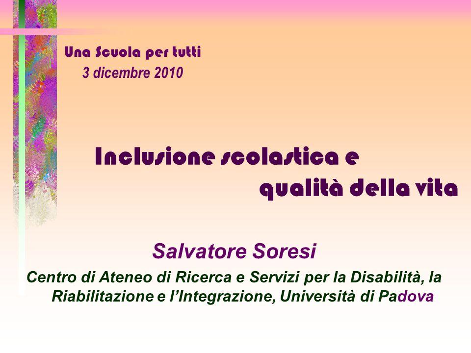 Inclusione scolastica e qualità della vita Salvatore Soresi Centro di Ateneo di Ricerca e Servizi per la Disabilità, la Riabilitazione e lIntegrazione