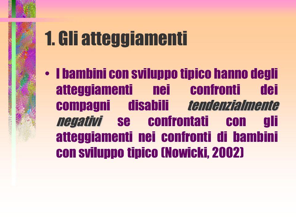 1. Gli atteggiamenti tendenzialmente negativiI bambini con sviluppo tipico hanno degli atteggiamenti nei confronti dei compagni disabili tendenzialmen