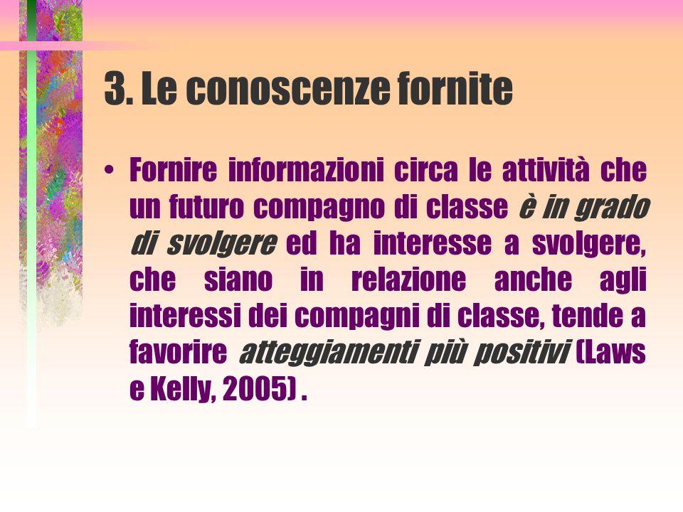 3. Le conoscenze fornite Fornire informazioni circa le attività che un futuro compagno di classe è in grado di svolgere ed ha interesse a svolgere, ch
