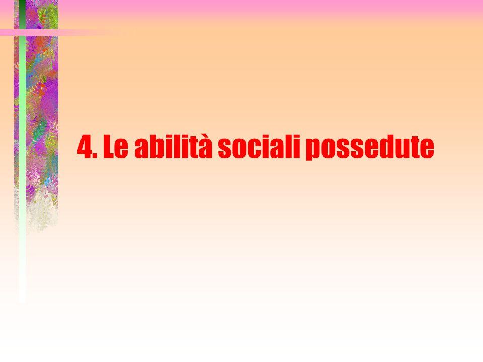 4. Le abilità sociali possedute