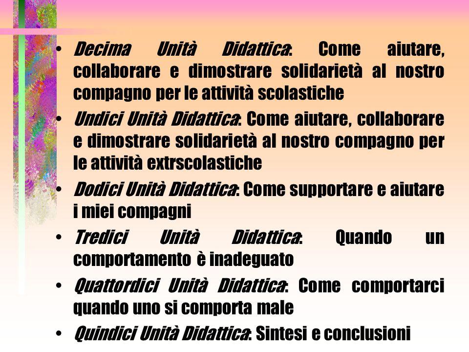 Decima Unità Didattica: Come aiutare, collaborare e dimostrare solidarietà al nostro compagno per le attività scolastiche Undici Unità Didattica: Come
