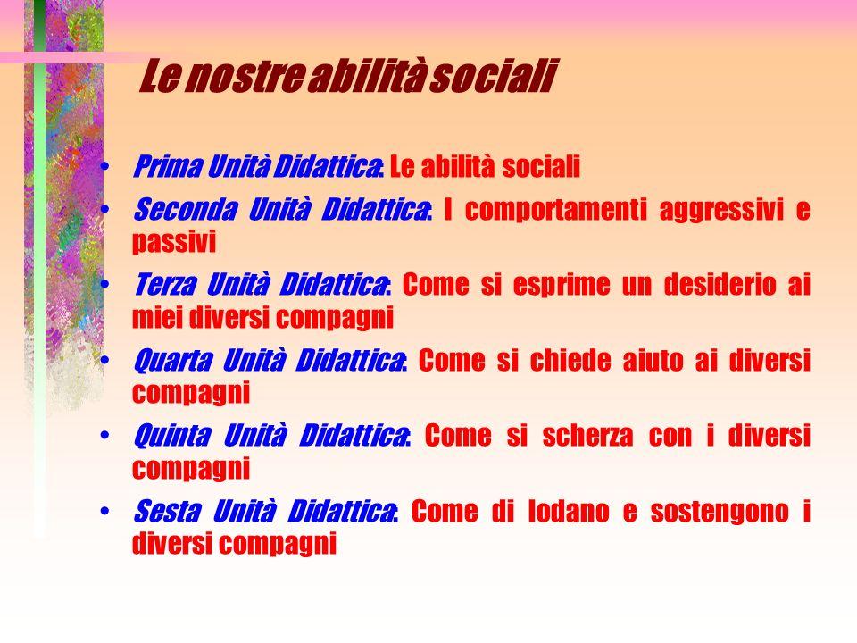 Le nostre abilità sociali Prima Unità Didattica: Le abilità sociali Seconda Unità Didattica: I comportamenti aggressivi e passivi Terza Unità Didattic