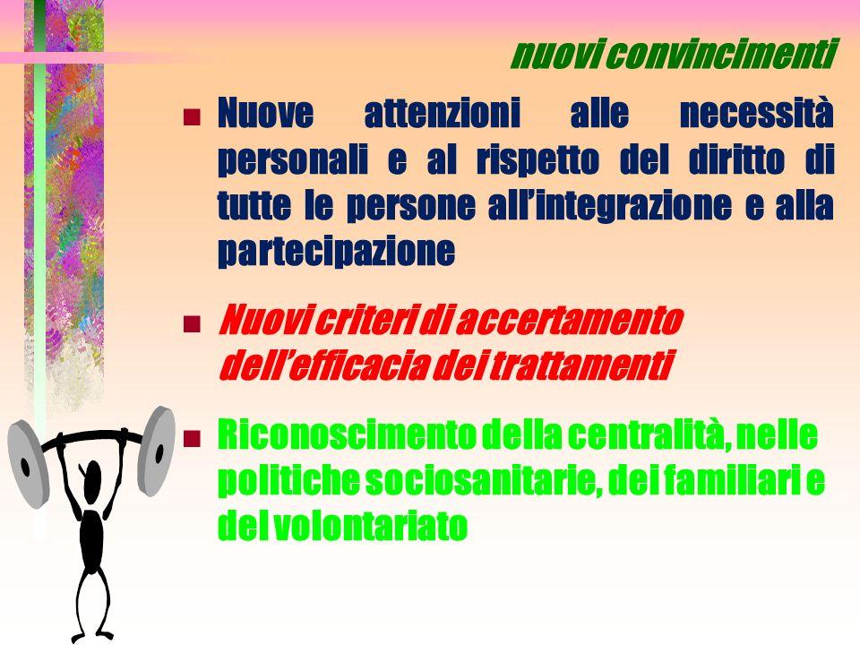 nuovi convincimenti Nuove attenzioni alle necessità personali e al rispetto del diritto di tutte le persone allintegrazione e alla partecipazione Nuov