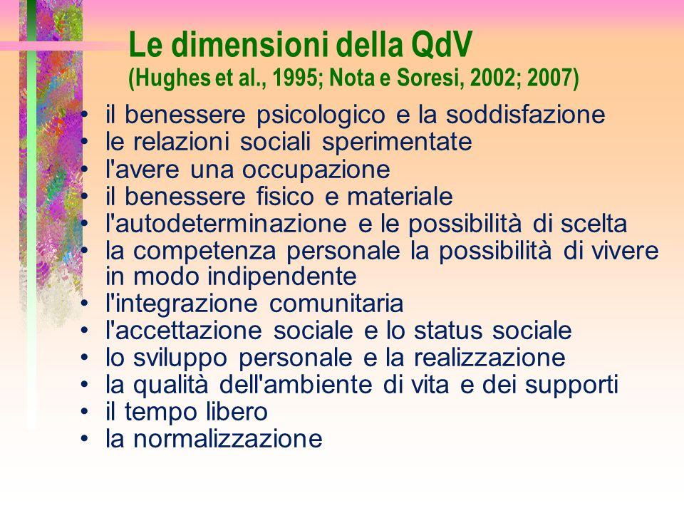 Le dimensioni della QdV (Hughes et al., 1995; Nota e Soresi, 2002; 2007) il benessere psicologico e la soddisfazione le relazioni sociali sperimentate
