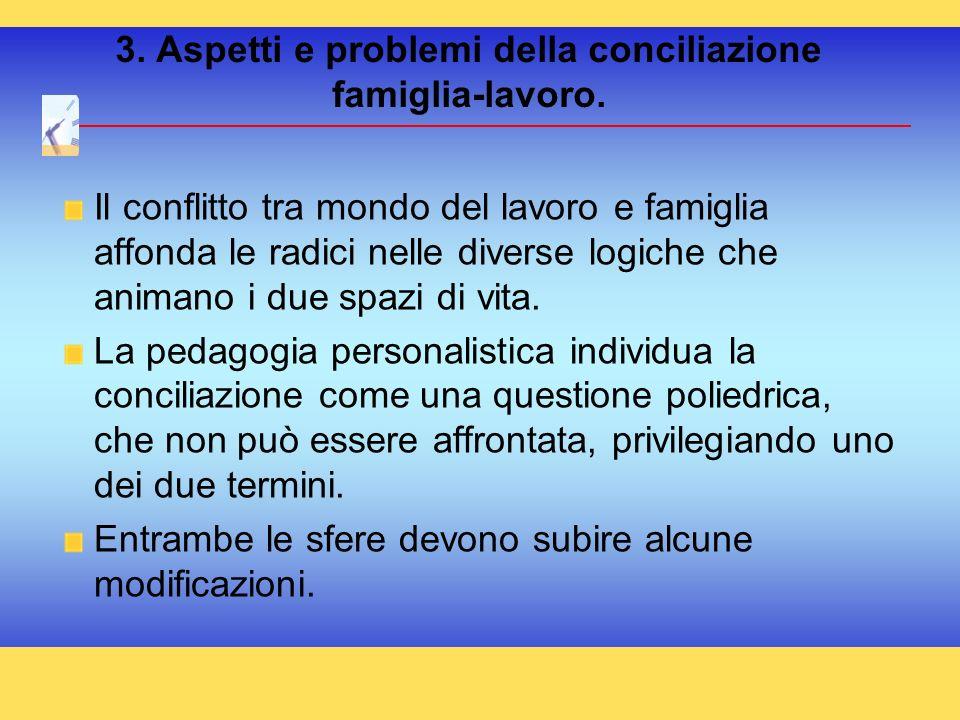 3. Aspetti e problemi della conciliazione famiglia-lavoro. Il conflitto tra mondo del lavoro e famiglia affonda le radici nelle diverse logiche che an