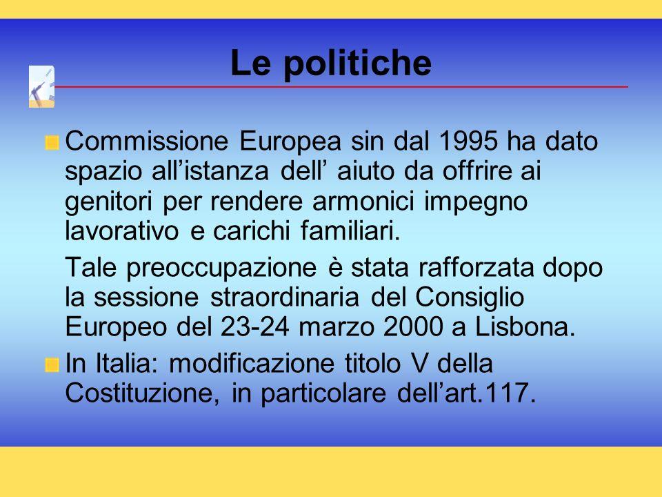 Commissione Europea sin dal 1995 ha dato spazio allistanza dell aiuto da offrire ai genitori per rendere armonici impegno lavorativo e carichi familia