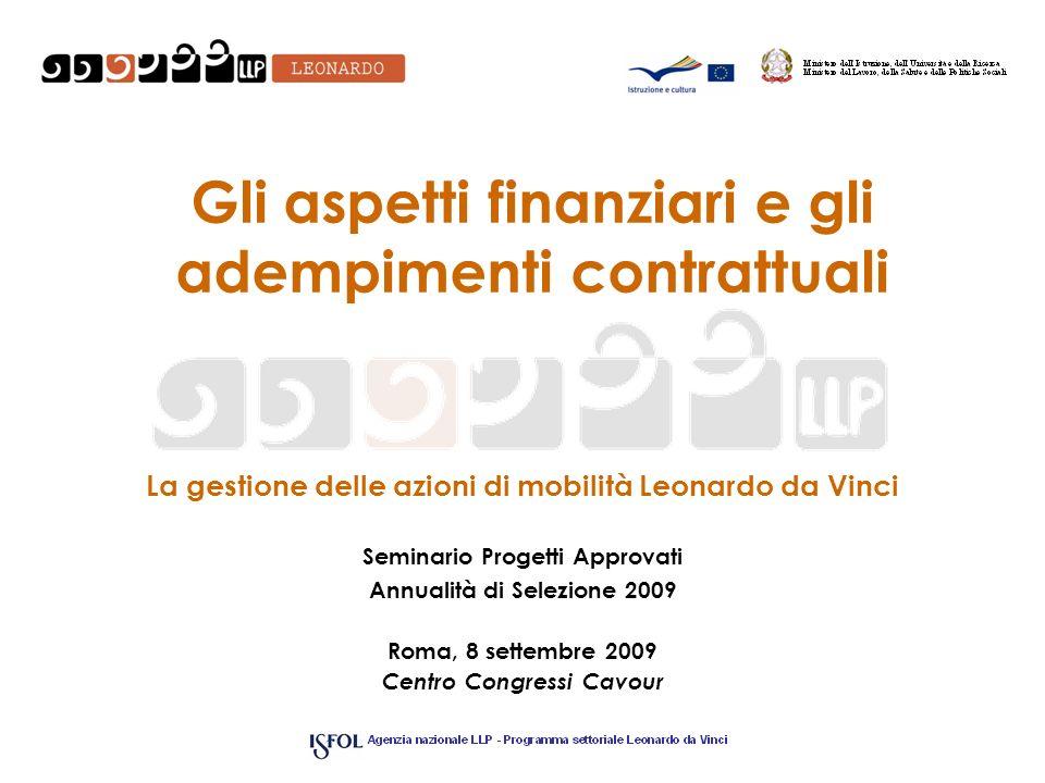 Gli aspetti finanziari e gli adempimenti contrattuali La gestione delle azioni di mobilità Leonardo da Vinci Seminario Progetti Approvati Annualità di