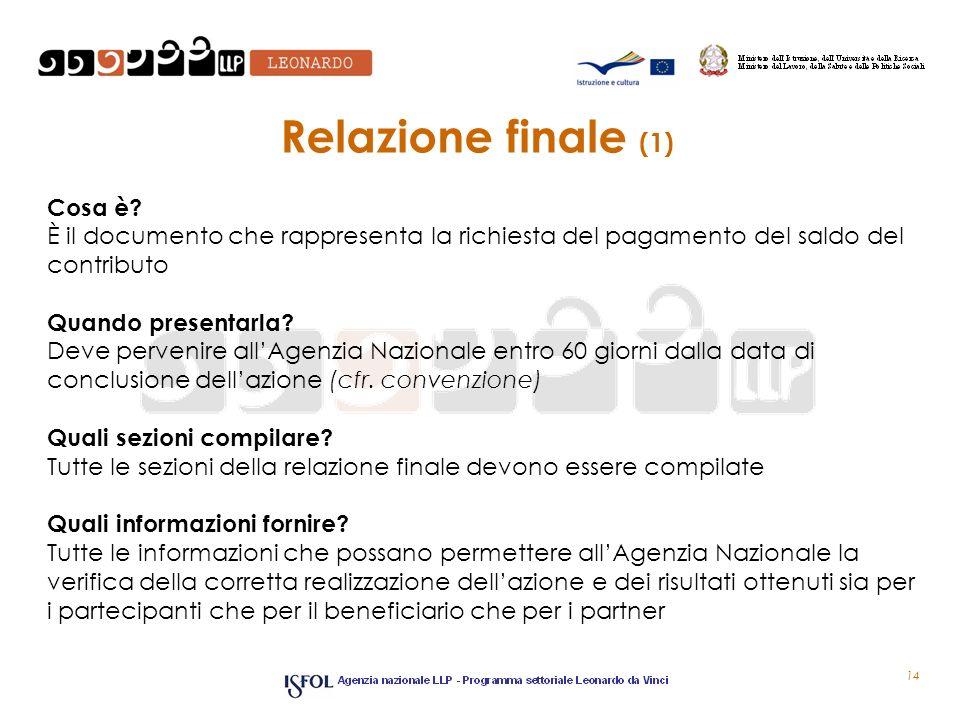 Relazione finale (1) Cosa è? È il documento che rappresenta la richiesta del pagamento del saldo del contributo Quando presentarla? Deve pervenire all