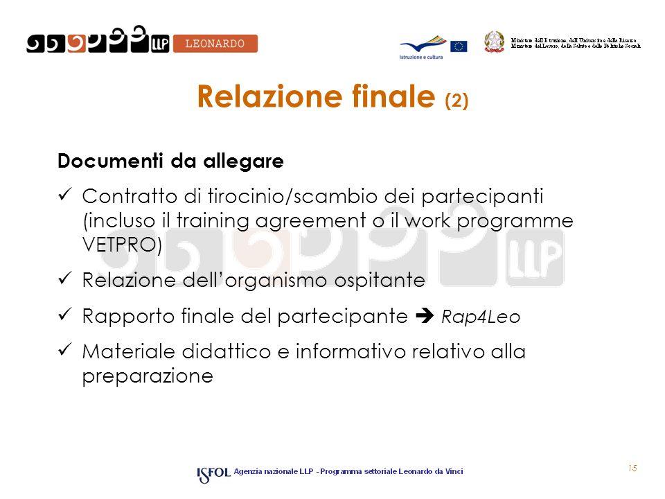 Relazione finale (2) Documenti da allegare Contratto di tirocinio/scambio dei partecipanti (incluso il training agreement o il work programme VETPRO)