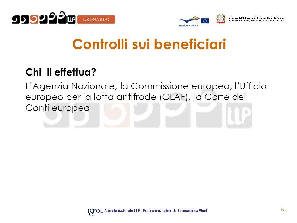 Controlli sui beneficiari Chi li effettua? LAgenzia Nazionale, la Commissione europea, lUfficio europeo per la lotta antifrode (OLAF), la Corte dei Co