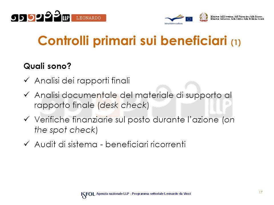Controlli primari sui beneficiari (1) Quali sono? Analisi dei rapporti finali Analisi documentale del materiale di supporto al rapporto finale (desk c