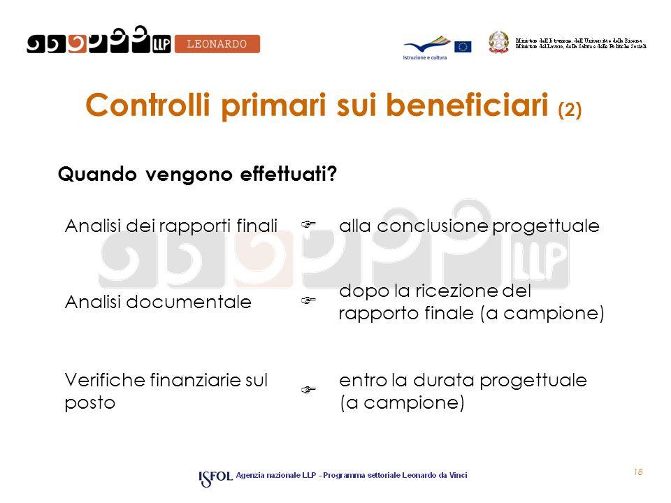Controlli primari sui beneficiari (2) Quando vengono effettuati? 18 Analisi dei rapporti finali alla conclusione progettuale Analisi documentale dopo