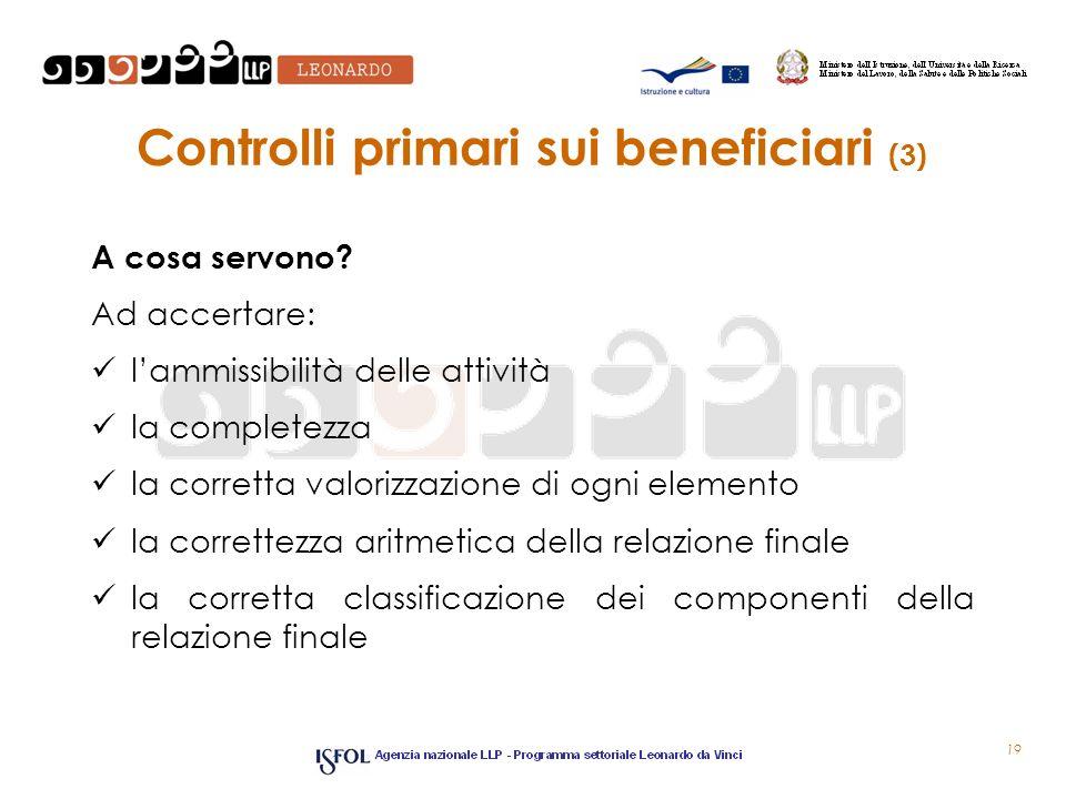Controlli primari sui beneficiari (3) A cosa servono? Ad accertare: lammissibilità delle attività la completezza la corretta valorizzazione di ogni el